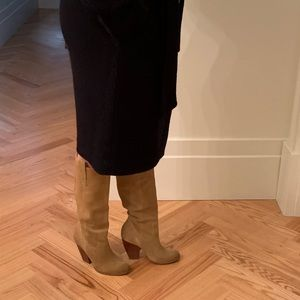 Suede Pull-On Heeled Boots